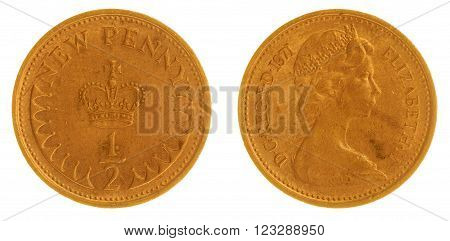 Half Penny 1971 Coin Isolated On White Background, Great Britain