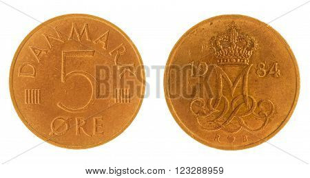 5 Ore 1984 Coin Isolated On White Background, Denmark