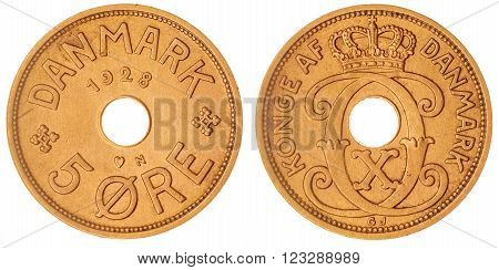 5 Ore 1928 Coin Isolated On White Background, Denmark