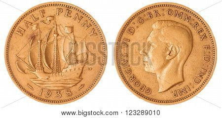 Half Penny 1938 Coin Isolated On White Background, Great Britain