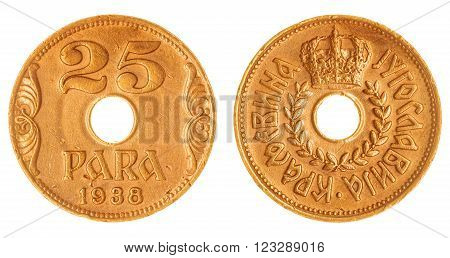 25 Para 1938 Coin Isolated On White Background, Yugoslavia