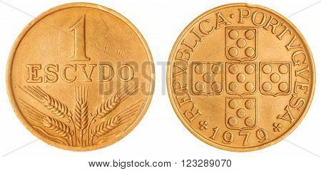 1 Escudo 1979 Coin Isolated On White Background, Portugal