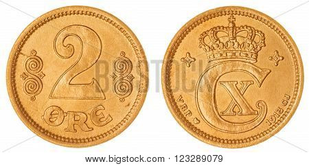 Bronze 2 Ore 1913 Coin Isolated On White Background, Denmark