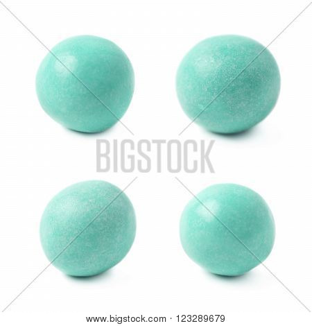 Sugar coated glazed ball candy isolated over the white background, set of four different foreshortenings