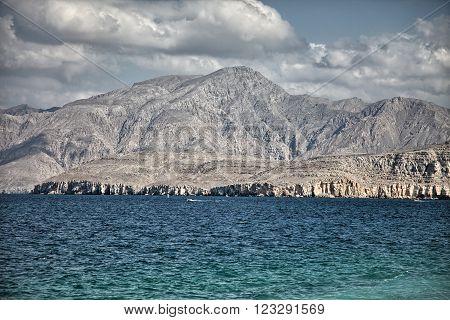 Amazinc coastal scenery in Musandam peninsula, Oman