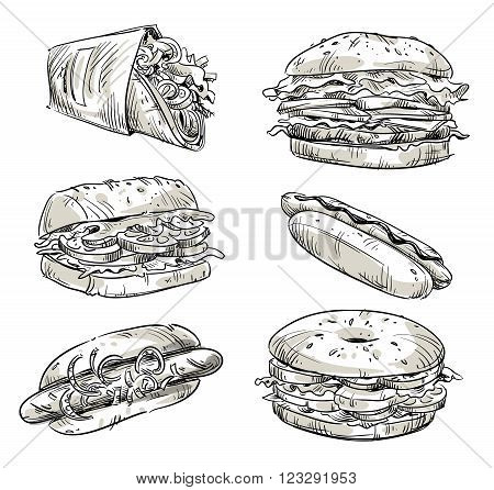 Sandwiches. Fast food. Snacks. Vector sketch eps 10