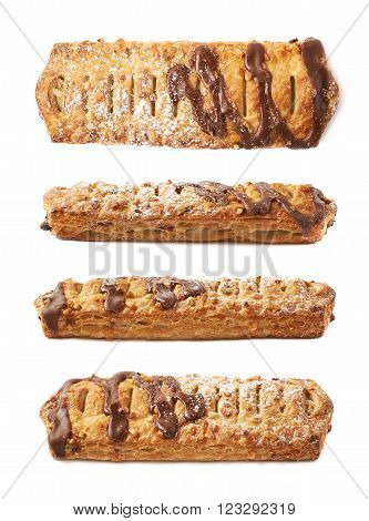 Chocolate covered banana strudel bun isolated over the white background, set collection of four different foreshortenings