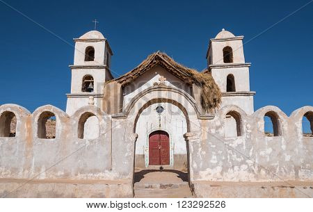Church in remote area of Altiplano Bolivia South America
