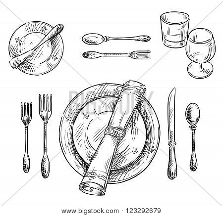 Table setting. Vector sketch. hand drawn, eps 10