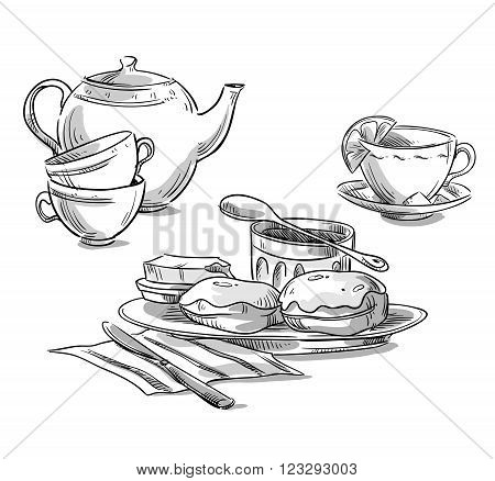 Tea serving. tea and scones. Vector sketch
