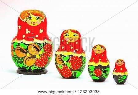 Strawberrie Matryoshka, Russian dolls on white Background