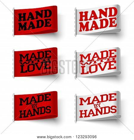Set of realistic textile red and white labels hand made and made with love and made by hand with shadow on white background vector