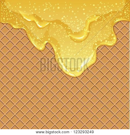 Seamless waffle background with flowing honey or maple syrup with air bubbles vector