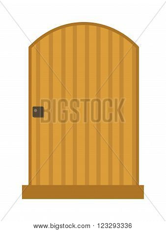 Wood interior door isolated entry and doorway house exit vertical style isolated. Wood elegant entrance door architecture elements. Home doors symbols for design