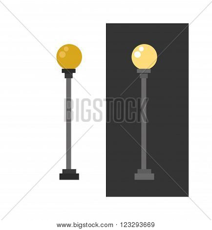 Lamp retro metal street object electricity industry and vintage street energy lamp exterior vector. Street lamp urban lantern light flat vector illustration. Street lamp yellow color