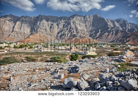Amazing mountain scenery in Bukha, Musandam peninsula, Oman