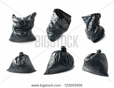Filled black plastic garbage bag isolated over the white background, set collection of six different foreshortenings