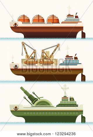 Set of ships. Vector illustration.