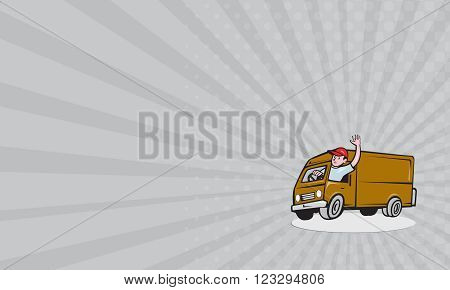 Business card showing illustration of a delivery man wearing hat waving driving delivery van truck set inside circle on isolated background done in cartoon style.