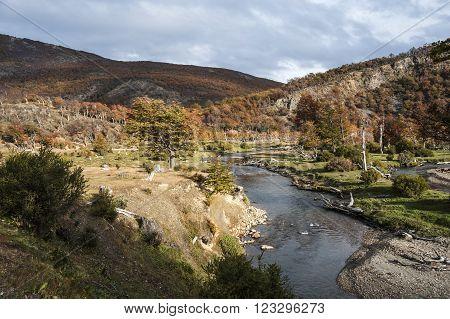 Autumn in Patagonia. Tierra del Fuego Argentina side