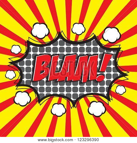 BLAM! wording sound effect set design for comic background, comic strip