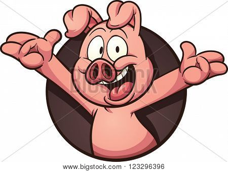Cartoon pig coming out of a hole. Vector clip art illustration with simple gradients. All in a single layer.