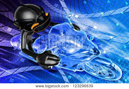 Virtual Reality VR Motor Cycle Racing 3D Illustration