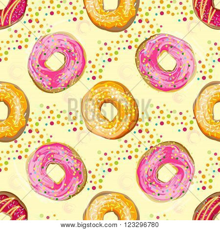 Abctract vector seamless food pattern with colorful donuts with different glazing and sprinkles. Seamless vector food background. Abstract vintage food background with donuts. Pastel watercolour effect