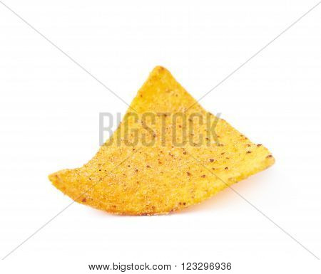 Single yellow corn tortilla chip isolated over the white background ** Note: Shallow depth of field