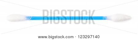 Single blue cotton swab bud isolated over the white background