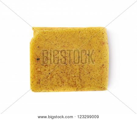 Single bouillon stock broth cube isolated over the white background
