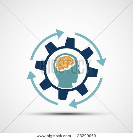 Mechanical gear with a human head. Creative design. Stock vector illustration.