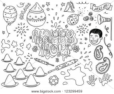 Holi festival illustration. Set of isolated vector objects. Usable for cards, greetings, advertisement. Indian spring festival. Festival of colors. Happy Holi. Hand drawn. Black and white.