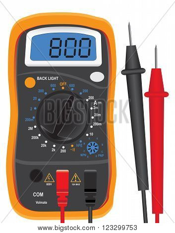 Digital multi-function tester with two probes. Vector illustration.