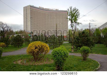 TASHKENT UZBEKISTAN march 2016. Uzbekistan hotel in Tashkent on Amir Temur square