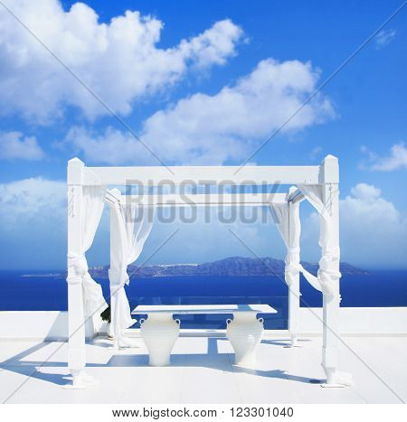Wedding tent on Santorini island. Beautiful sky and horizon.