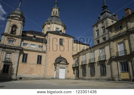 Castle, Palacio de la Granja de San Ildefonso in Madrid, Spain. beautiful villa with gardens and classical sources
