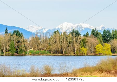 Deer Lake view from trail in Vancouver, Canada.