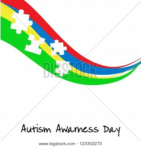 Autism awareness day. Card or poster template. Vector illustration eps 10