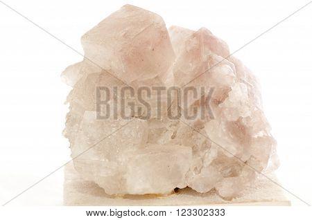 pinkish white halite crystal mineral sample rock salt