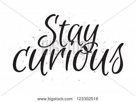 Stay curious inscription. Greeting card with calligraphy. Hand drawn lettering design. Usable as photo overlay. Typography for banner, poster or apparel design. Isolated vector element. Black and white.