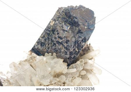 galena dark metal and crystal mileral sample with quartz and granite