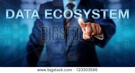 Systems librarian is pressing DATA ECOSYSTEM on a touch screen interface. Information technology concept and digital business metaphor for a scalable and self organizing data environmental system.