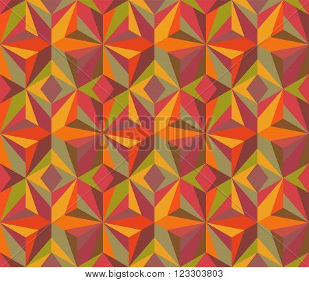 Patchwork blanket. Vector multicolored geometric mosaic. Seamless ornate pattern.
