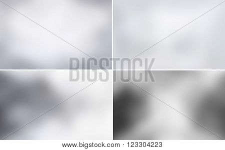 Set of abstract white blurred backgrounds with grey texture in vector