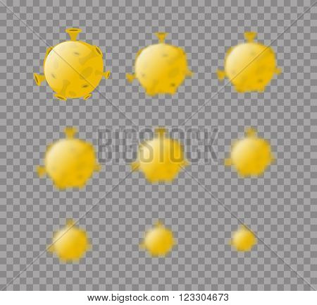 Moon. Yellow Planet Moon Isolated. Set Moon Planet With Varying Degrees Of Blur. Blur Effect Moon. A