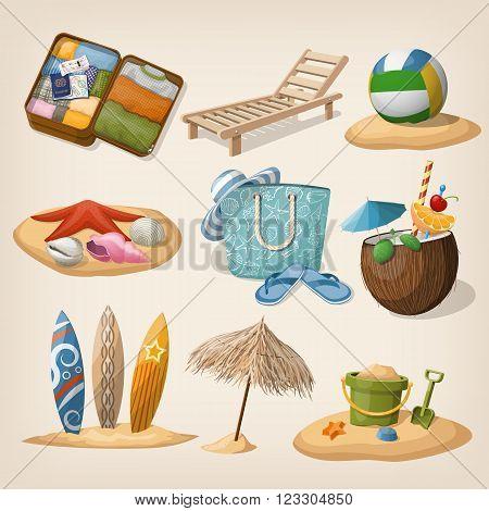 Beach vacation icon set. Vector illustration. EPS10