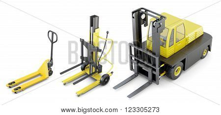 Different types of truck lifts isolated on white background. 3d rendering.