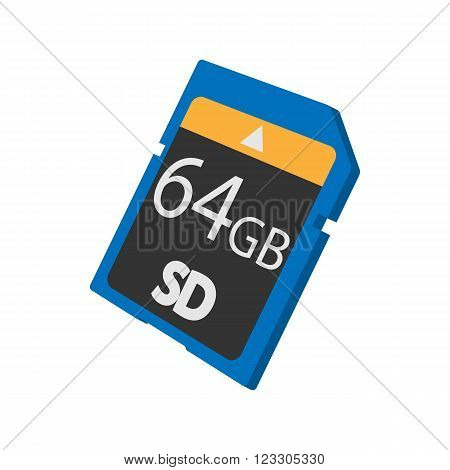 Memory SD card icon in cartoon style isolated on white background
