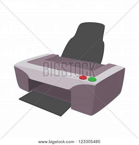 Printer icon in cartoon style isolated on white background. Photo printer icon
